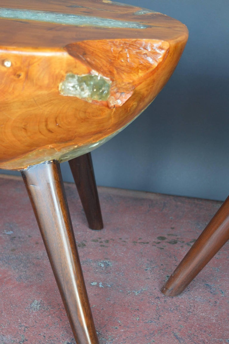 20th Century Pair of Wood and Resin Side Tables For Sale