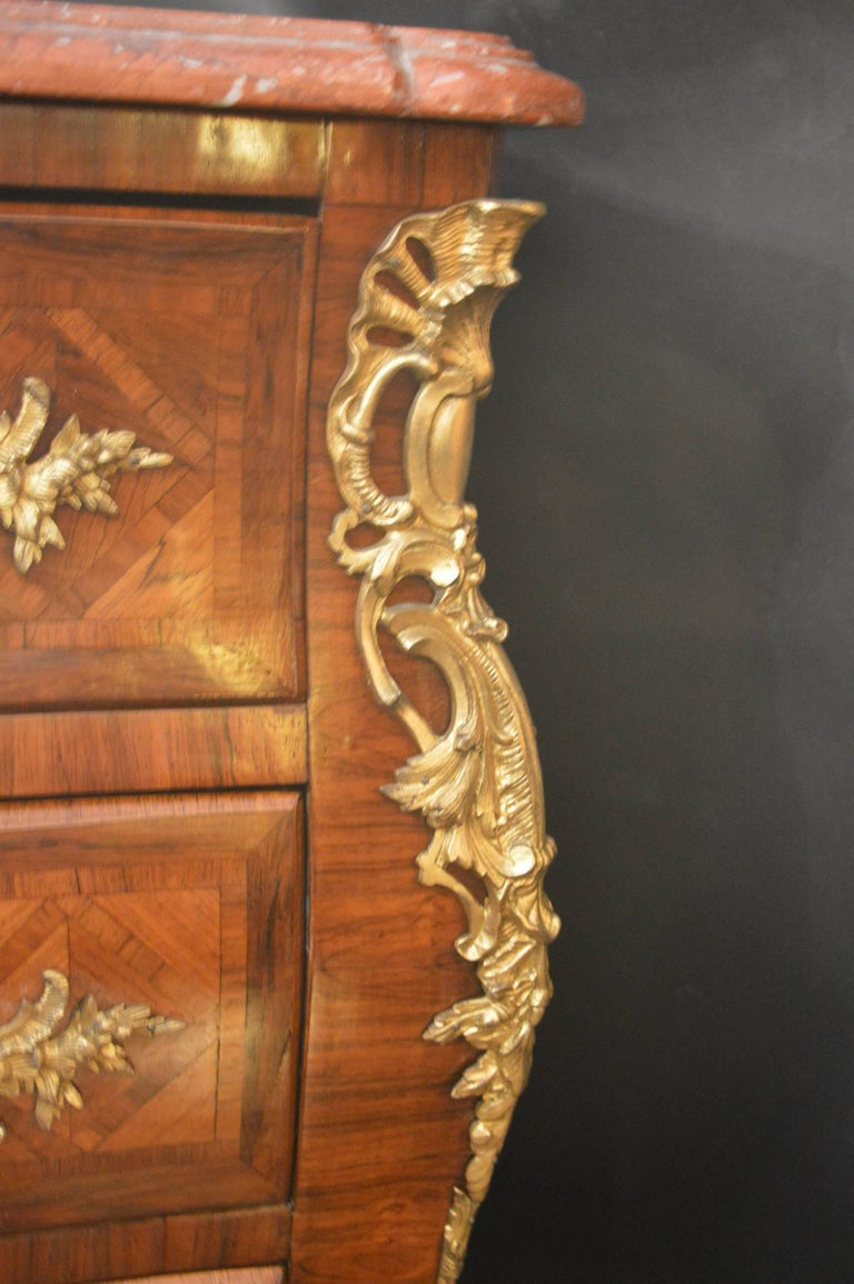 French Parquetry Commode with Ormolu For Sale 1