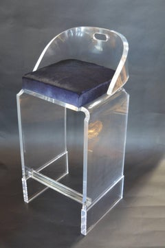 Pair of Lucite Bar Stools with Blue Cowhide Seats