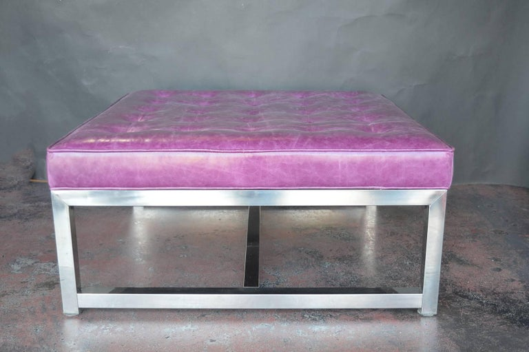 Pair Of Two Purple Leather Upholstered Coffee Tables For Sale At 1stdibs