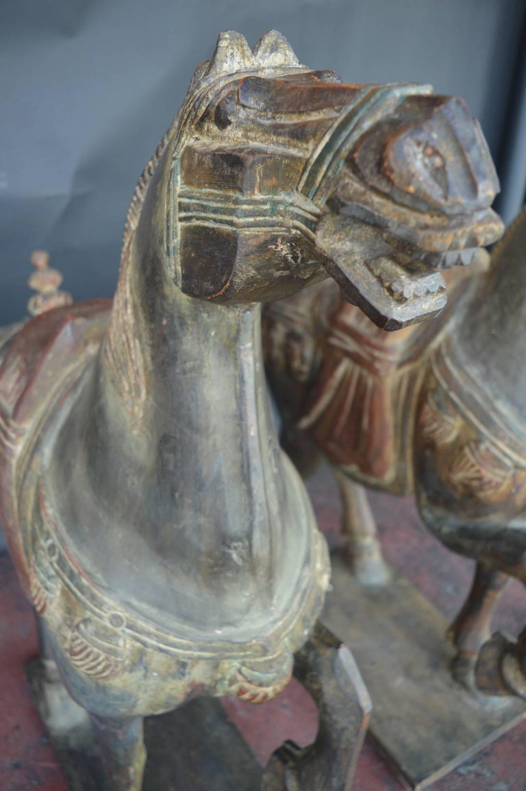 Chinese Pair of Hand-Carved Wooden Horses For Sale