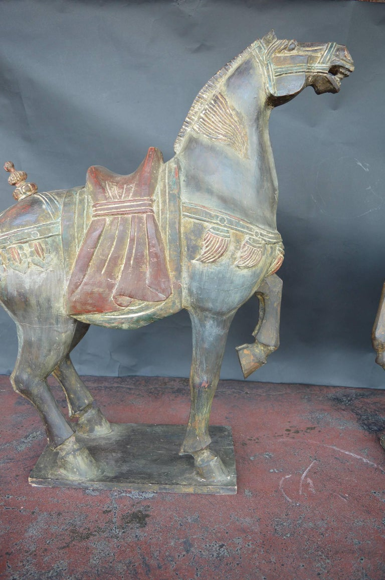 Pair of Hand-Carved Wooden Horses For Sale 1