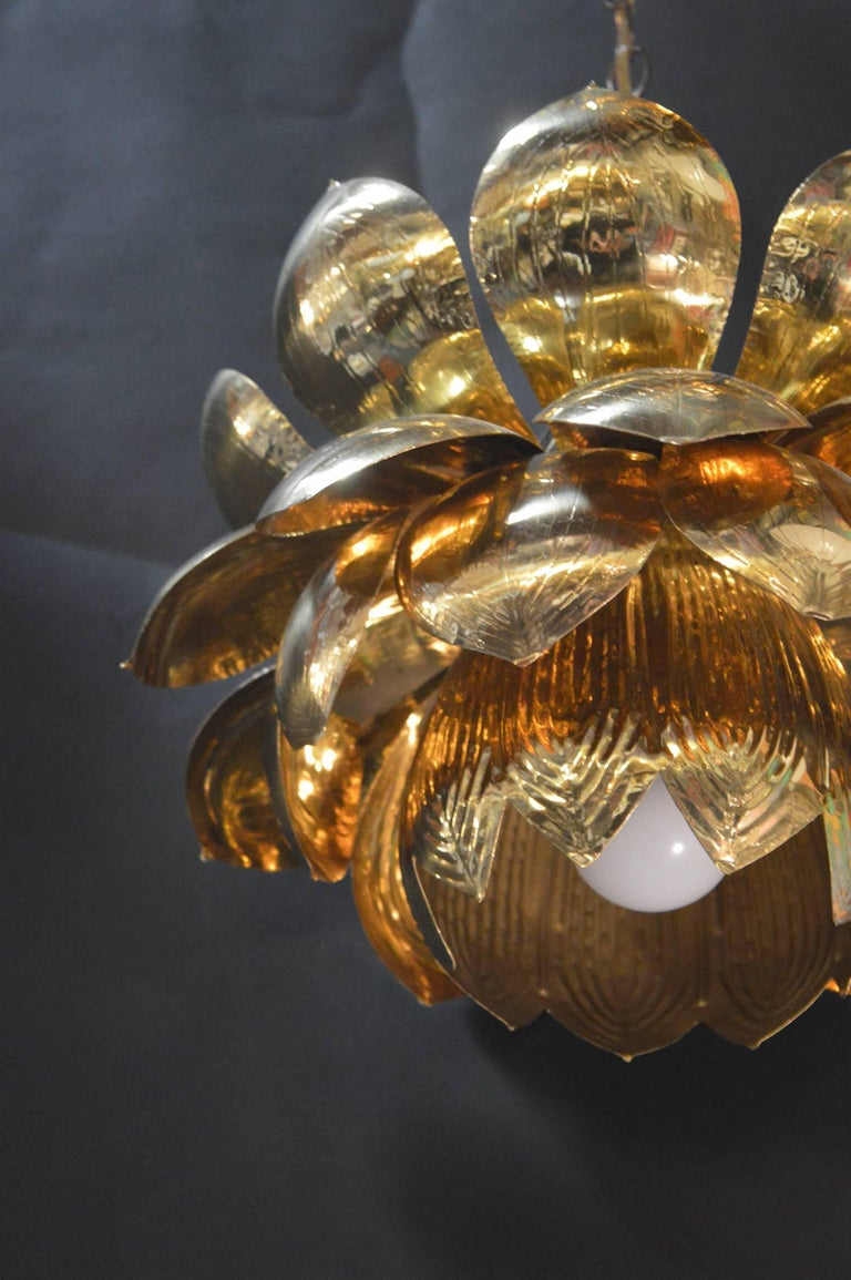 Brass Lotus Blossoms Pendant Chandelier In Excellent Condition For Sale In Los Angeles, CA