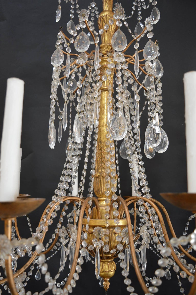 Hand-Carved Wood Chandelier In Excellent Condition For Sale In Los Angeles, CA