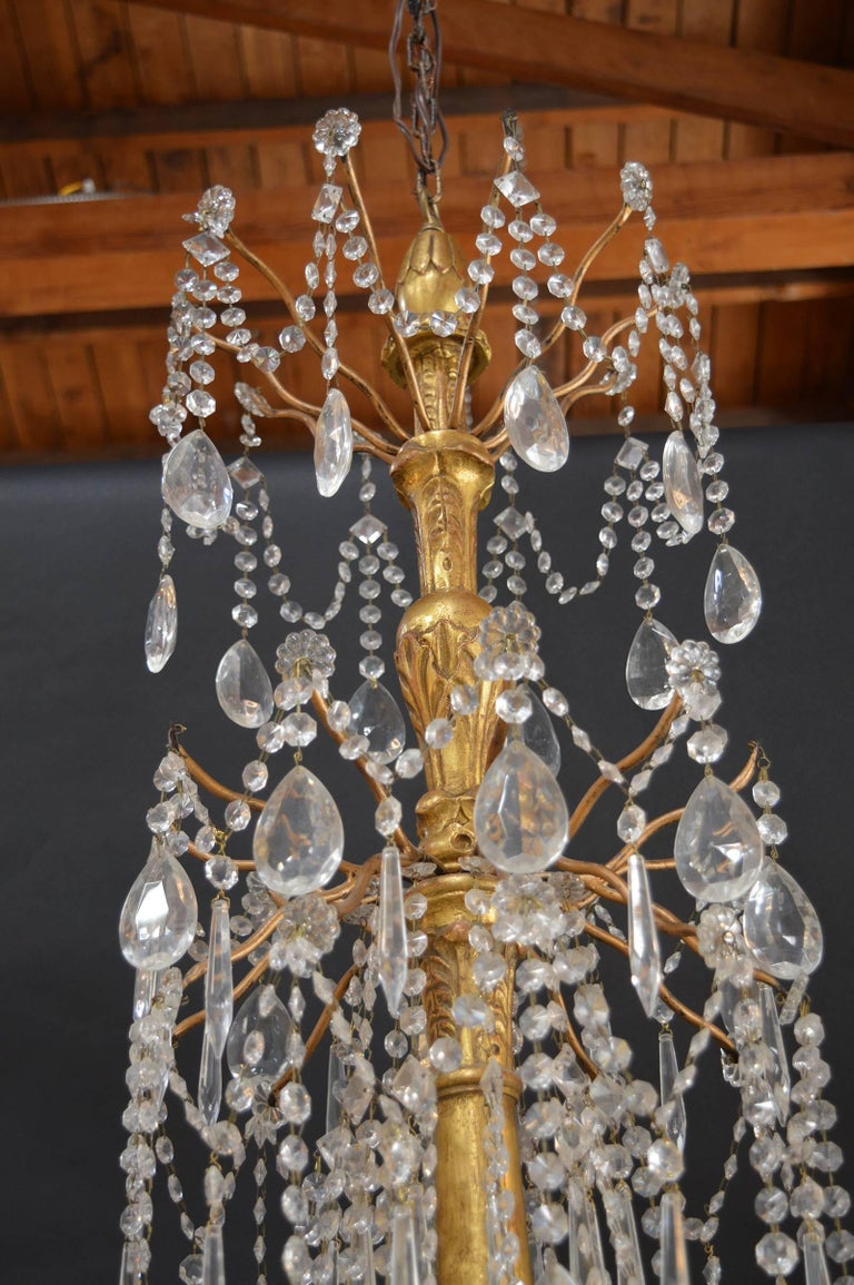 20th Century Hand-Carved Wood Chandelier For Sale