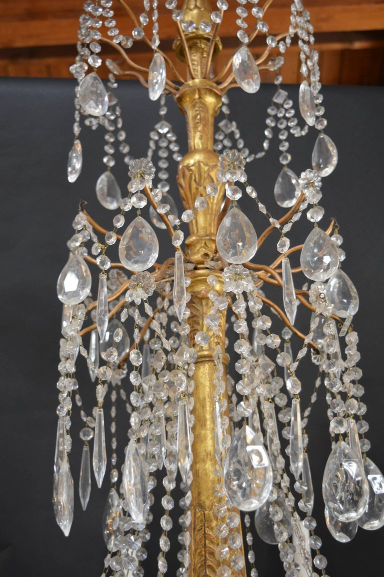 Hand-Carved Wood Chandelier For Sale 1