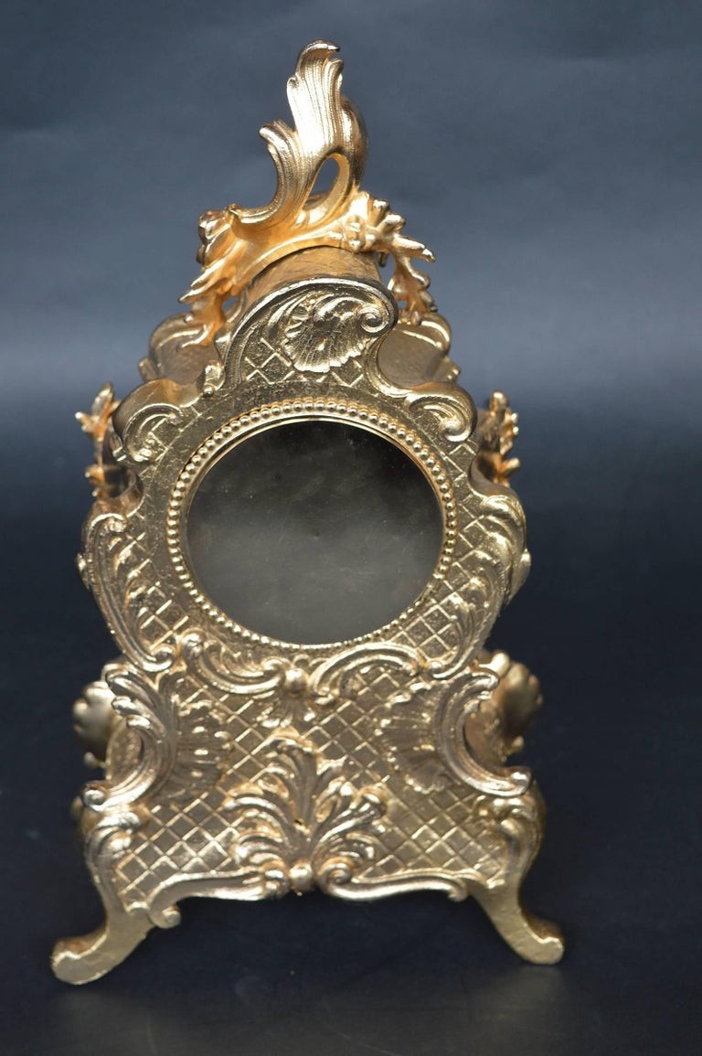 Ormolu and Hand-Painted Clock In Excellent Condition For Sale In Los Angeles, CA