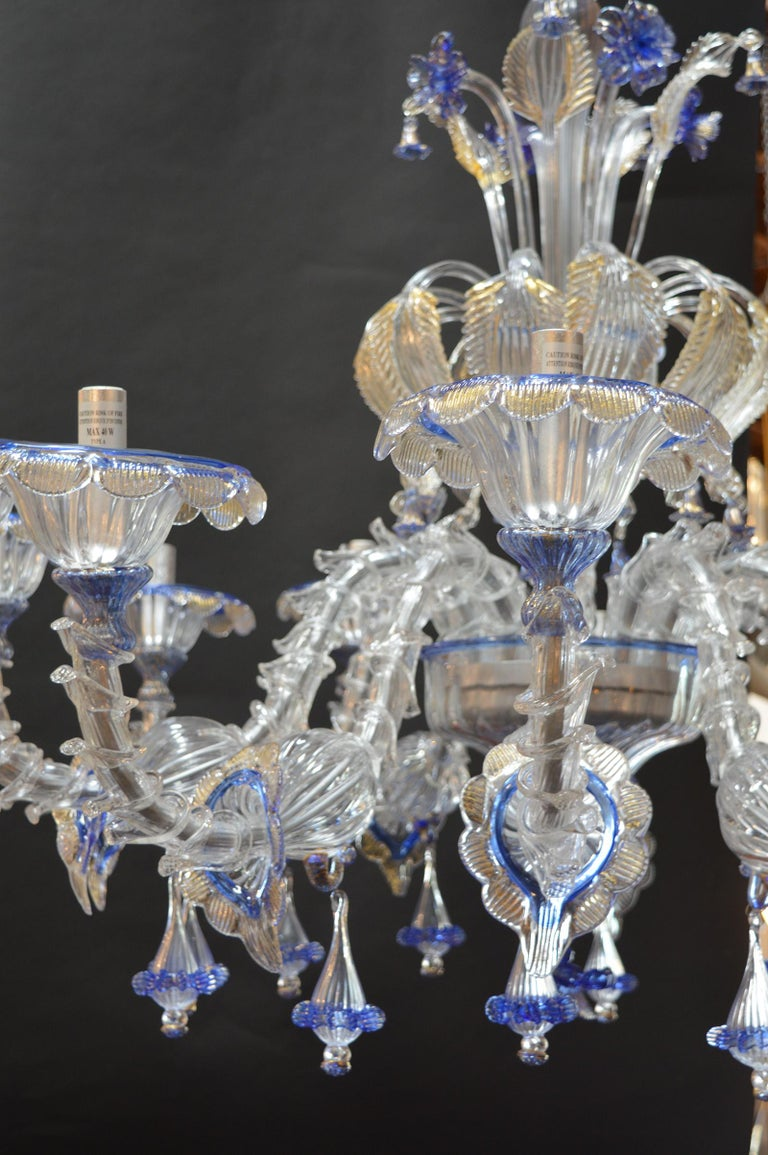Italian Over sized Pair of Murano Chandeliers Handmade in Italy For Sale