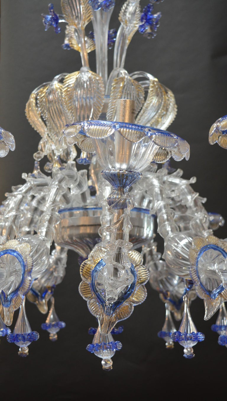 Over sized Pair of Murano Chandeliers Handmade in Italy In Excellent Condition For Sale In Los Angeles, CA