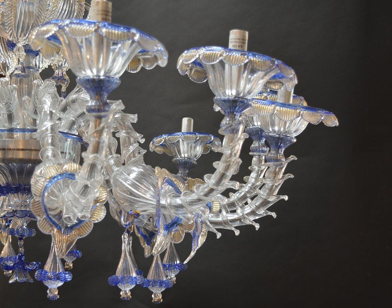 Contemporary Over sized Pair of Murano Chandeliers Handmade in Italy For Sale