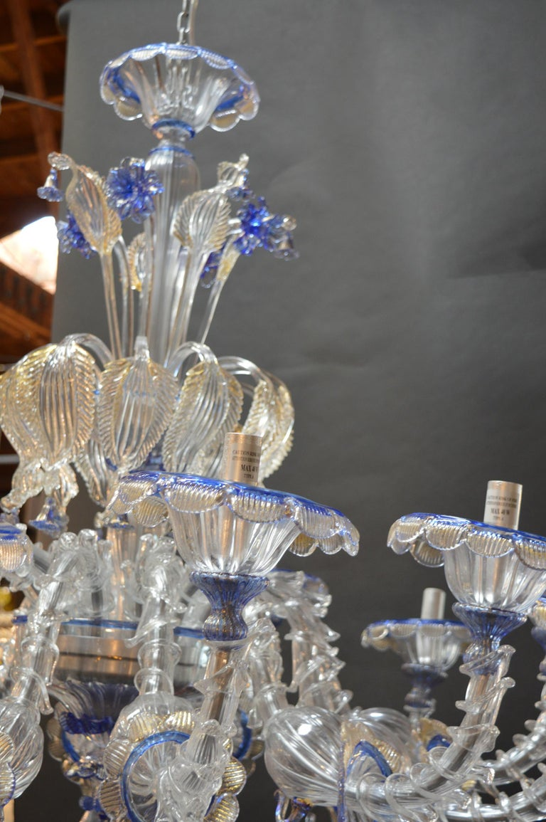 Blown Glass Over sized Pair of Murano Chandeliers Handmade in Italy For Sale