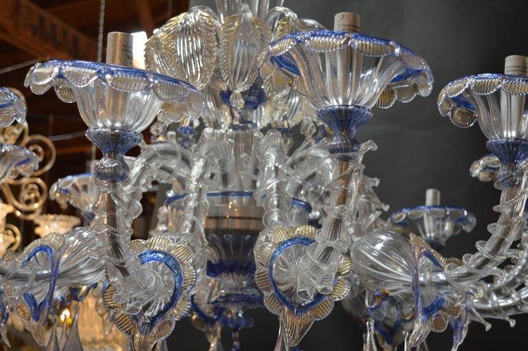 Over sized Pair of Murano Chandeliers Handmade in Italy For Sale 1