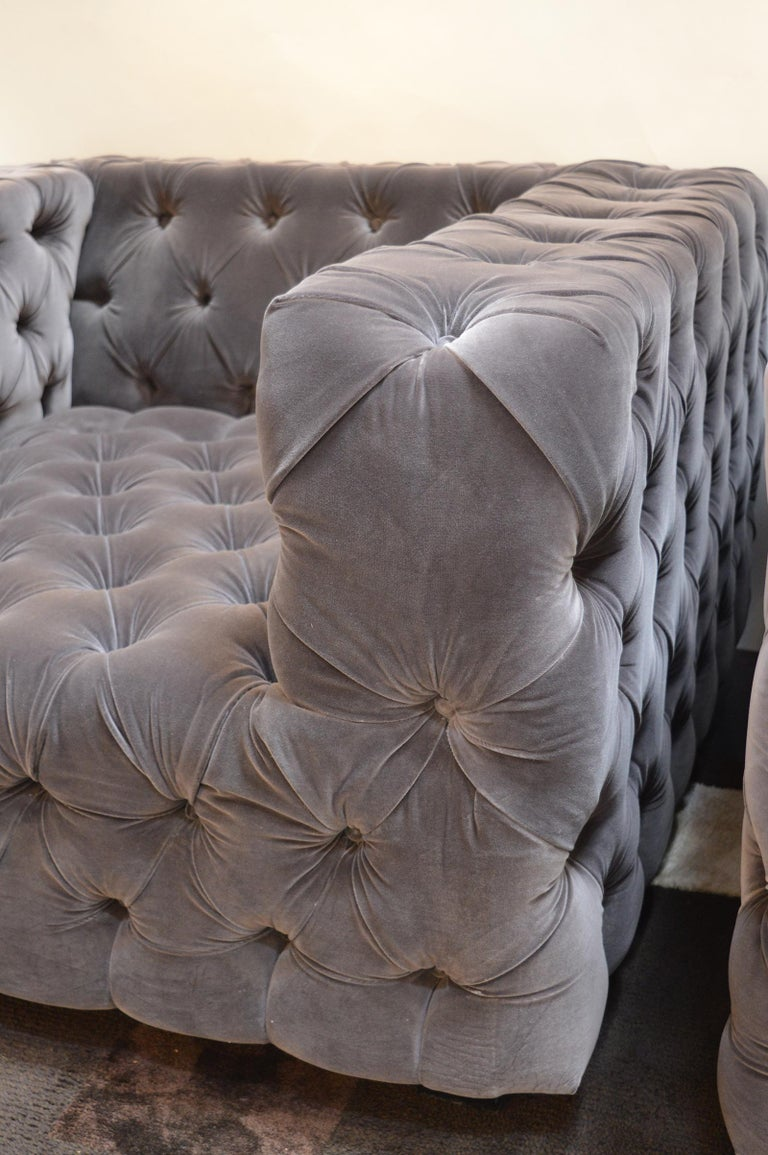 Contemporary Pair of Large Tufted Velvet Armchairs For Sale