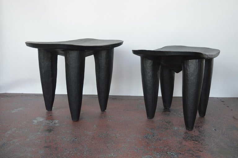 African Set of Two african Midcentury Wooden Side Tables For Sale