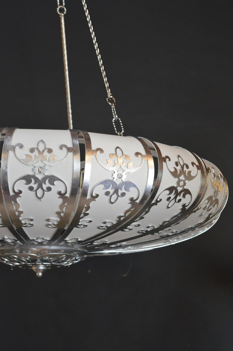 Silverleafed UFO Style Chandelier In Excellent Condition For Sale In Los Angeles, CA