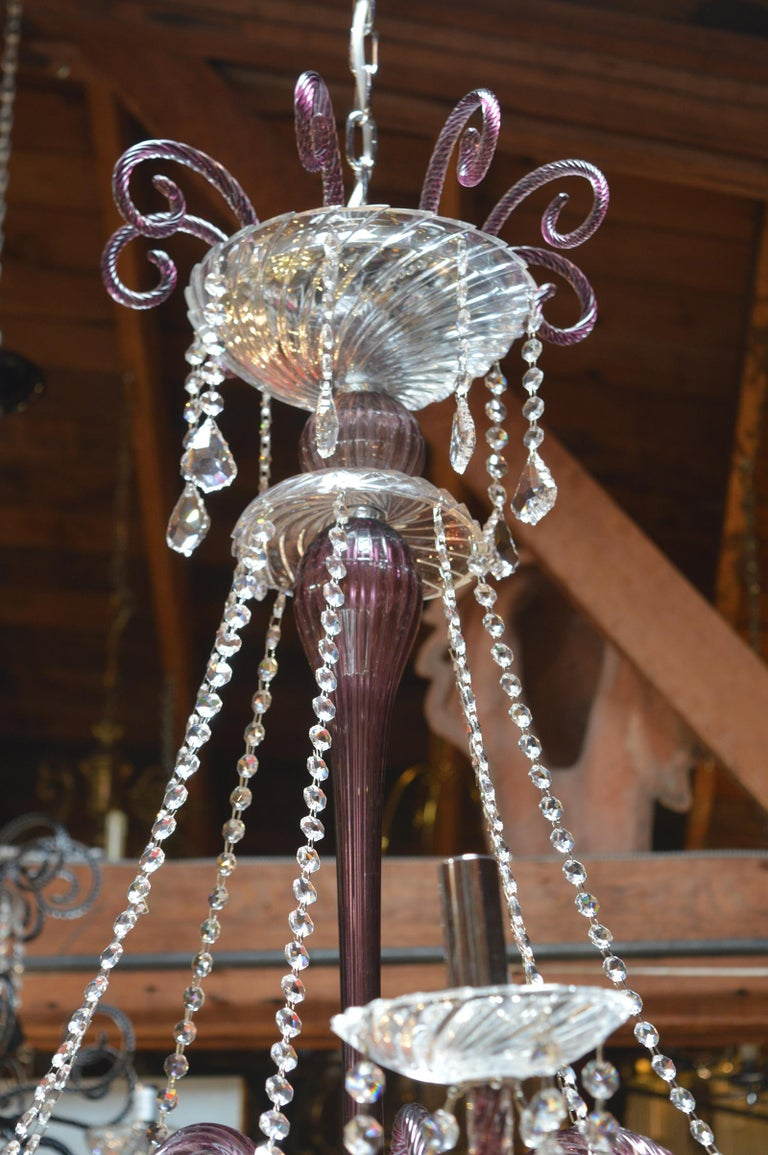 Amethyst Crystal Murano Chandelier For Sale 1