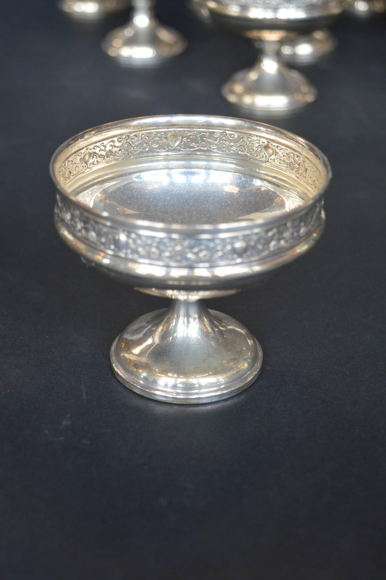 Collection of Sterling Silver Ice Cream Dishes For Sale 1