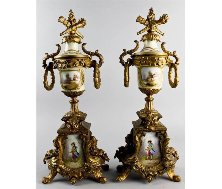 20th Century Louis XVI Style and Ormolu Three-Piece Clock For Sale