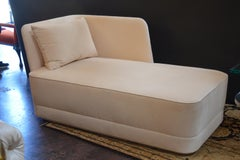 Velvet and Leather Chaise Lounge