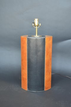 Pair of Brown & Black Leather Lamps