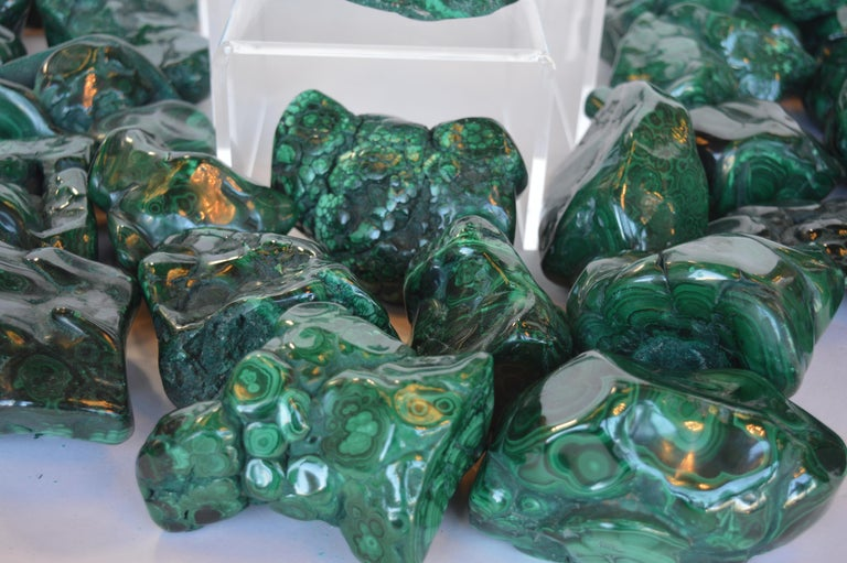 Collection of Polished Malachite Stones In Excellent Condition For Sale In Los Angeles, CA