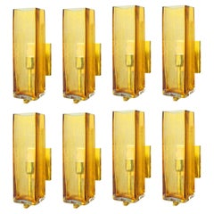 Set of Eight Hand Blown Glass Amber & Brass Sconces, 1980s