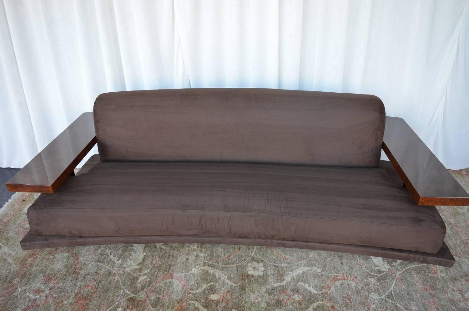 American art deco suede sofa for sale at 1stdibs for Suede couches for sale