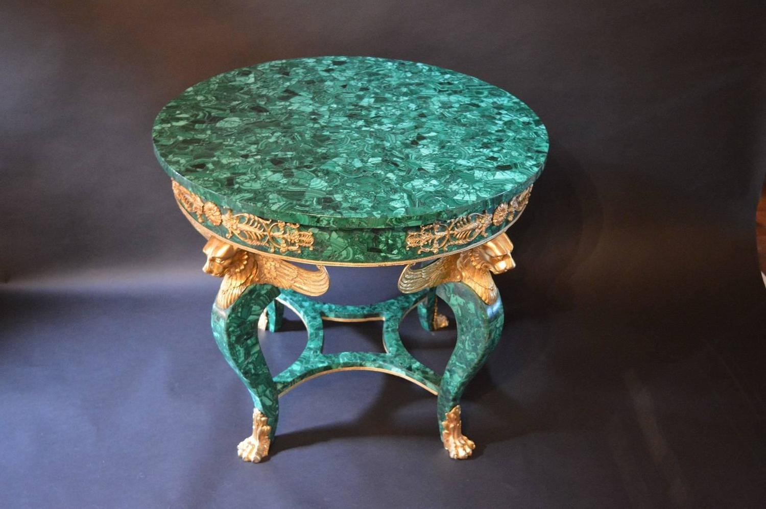 Russian Empire Malachite Table At 1stdibs