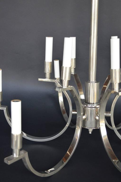 Plated French Art Deco Chandelier For Sale