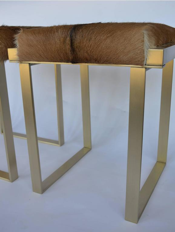 American Pair of Brushed Brass Stools For Sale