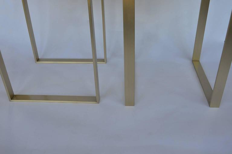 20th Century Pair of Brushed Brass Stools For Sale