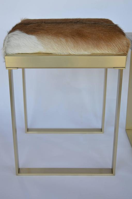 Pair of Brushed Brass Stools In Excellent Condition For Sale In Los Angeles, CA