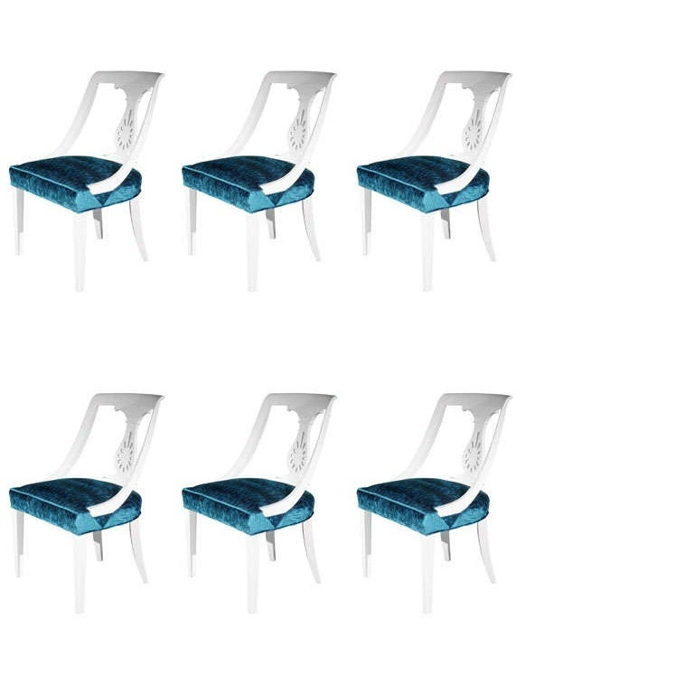 Set of Six Hollywood Regency Dining Chairs