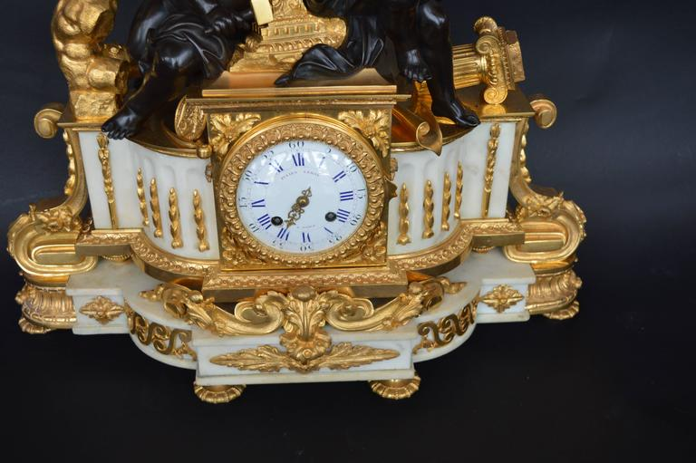 19th Century Large Impressive French Dior Bronze and White Marble Clock In Excellent Condition For Sale In Los Angeles, CA
