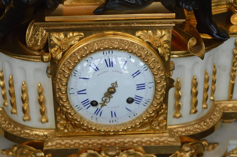 Late 19th Century 19th Century Large Impressive French Dior Bronze and White Marble Clock For Sale