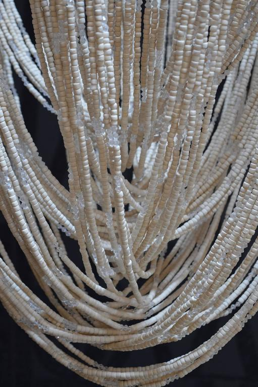 American Cream Colored Beaded Chandelier For Sale