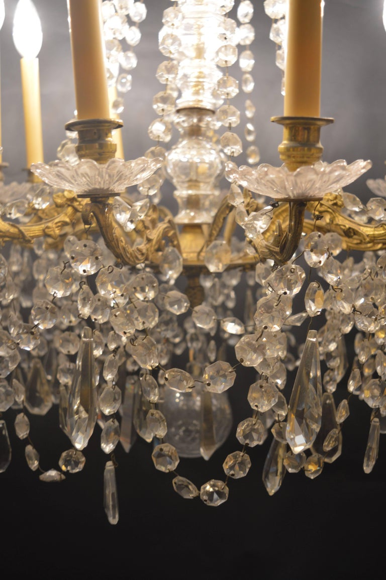 French chandelier with glass crystals.