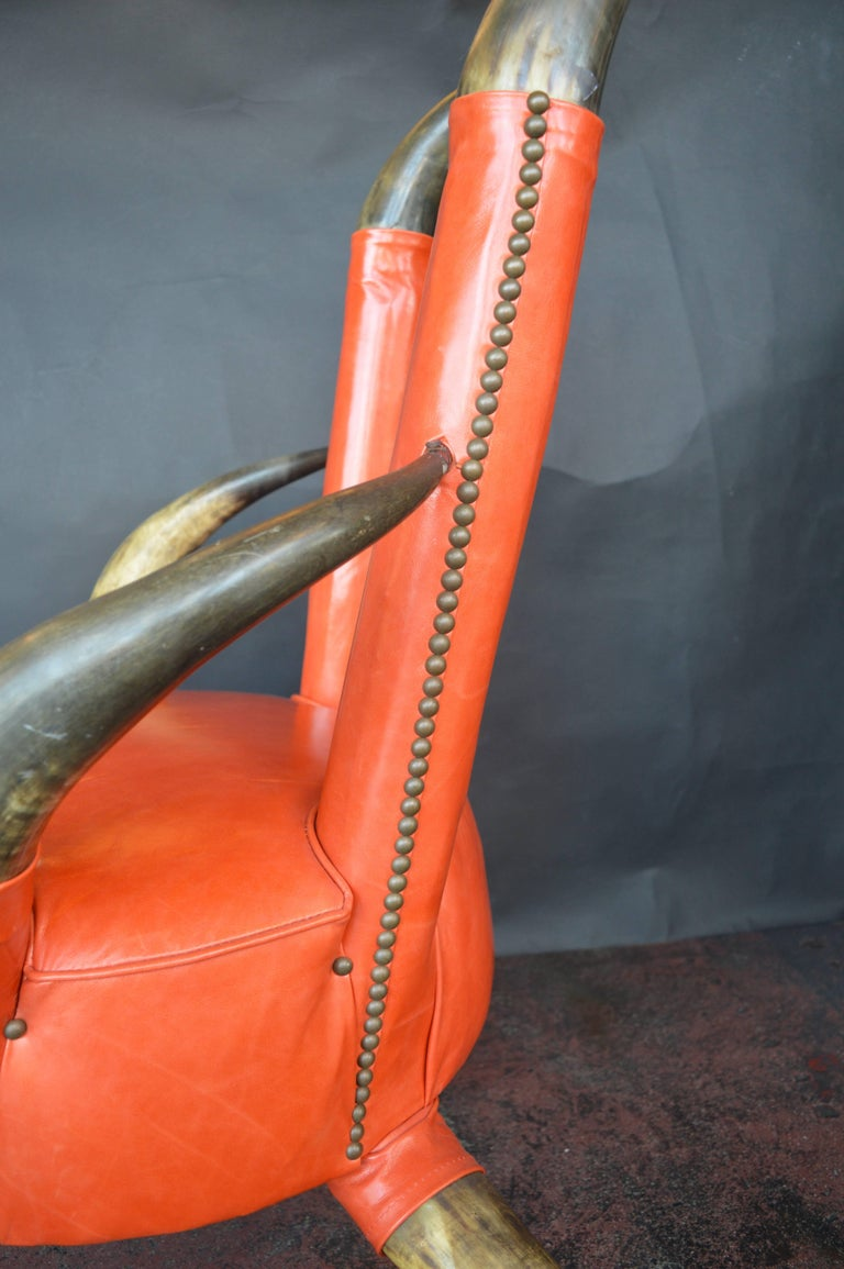 Cow Horn Chair with Ottoman In Excellent Condition For Sale In Los Angeles, CA