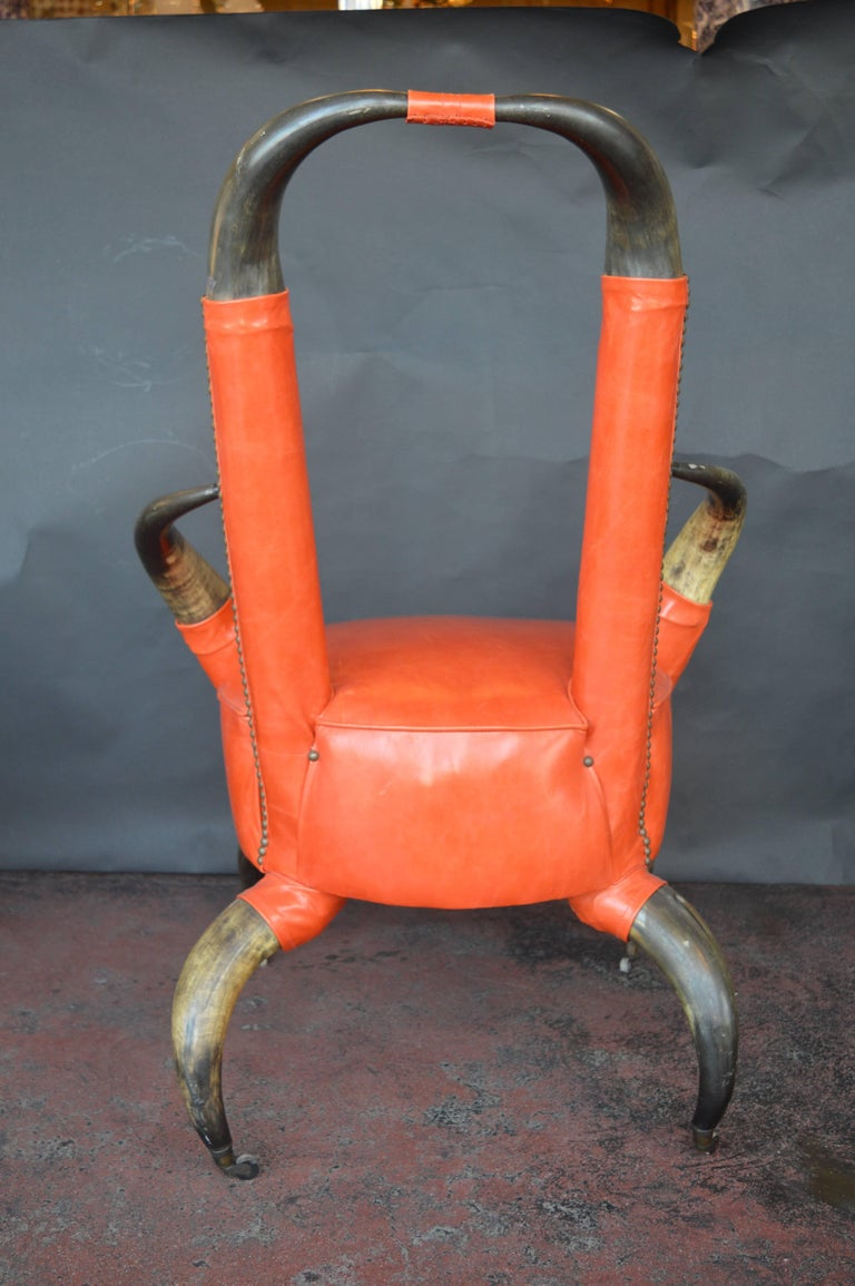 20th Century Cow Horn Chair with Ottoman For Sale