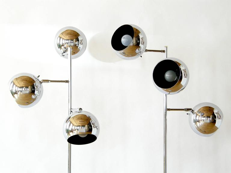 Pair of Koch and Lowy Triple Sphere Floor Lamps 2