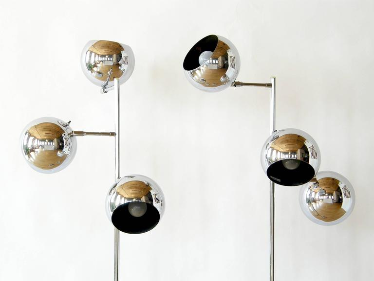 Pair of Koch and Lowy Triple Sphere Floor Lamps 5