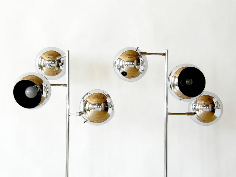 Pair of Koch and Lowy Triple Sphere Floor Lamps 4