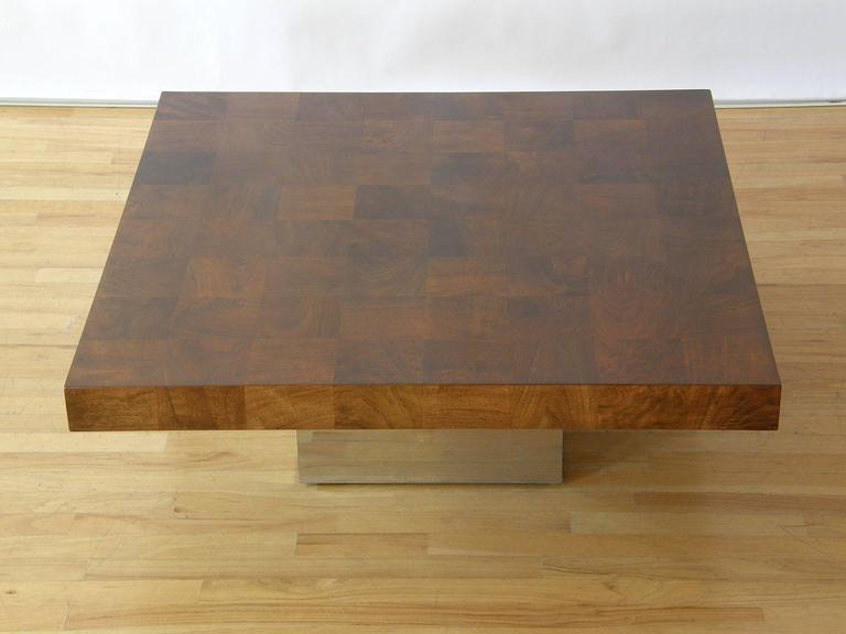 Milo Baughman Square Coffee Table In Good Condition For Sale In Chicago, IL