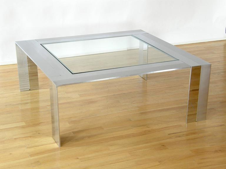 Brushed and Polished Stainless Steel and Glass Coffee Table 2