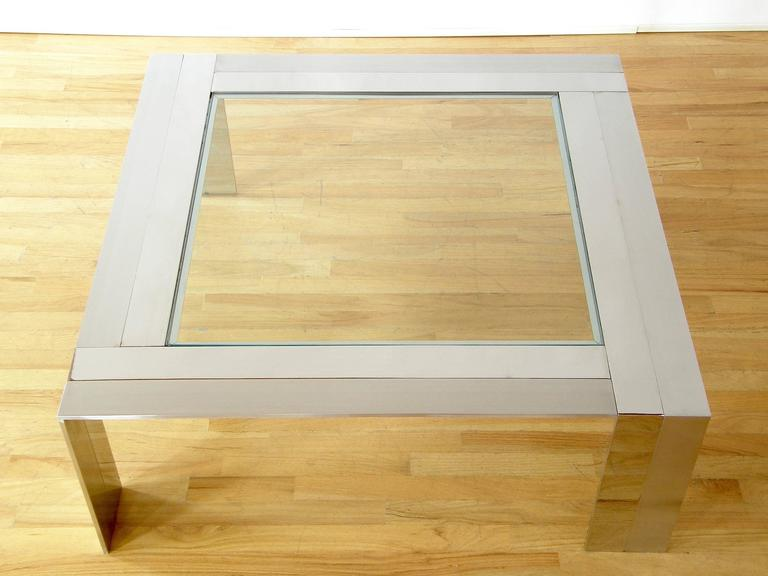 Brushed and Polished Stainless Steel and Glass Coffee Table 3