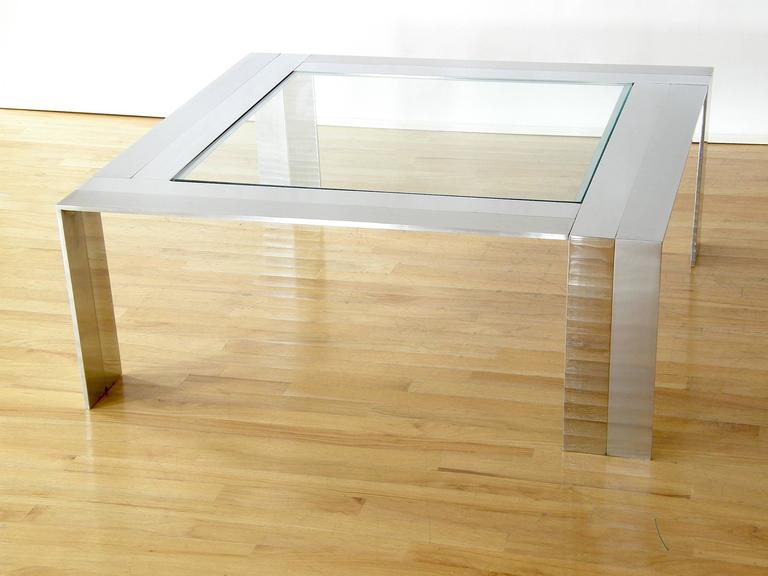 Brushed and Polished Stainless Steel and Glass Coffee Table 4
