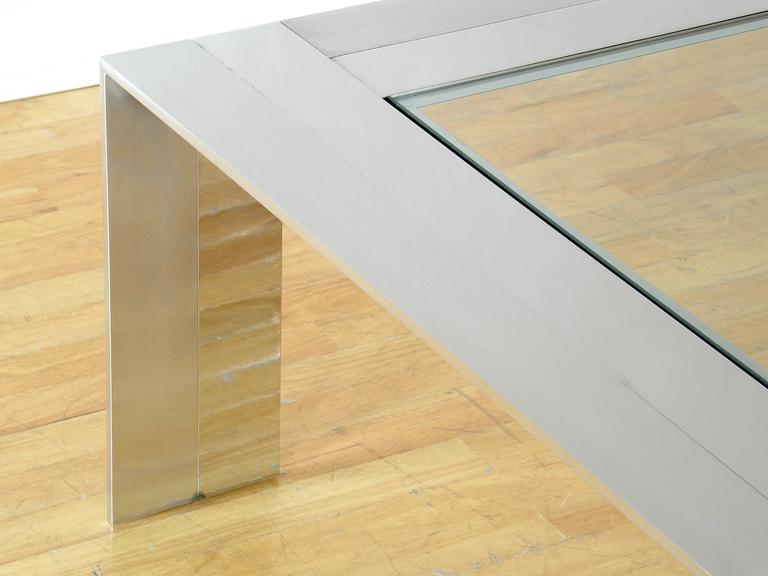 Brushed and Polished Stainless Steel and Glass Coffee Table 6