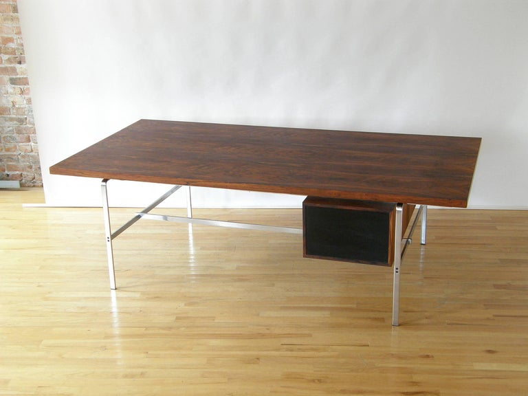 Rosewood and Chrome Desk by Preben Fabricius and Jørgen Kastholm 4