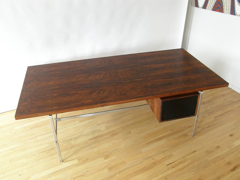 Rosewood and Chrome Desk by Preben Fabricius and Jørgen Kastholm 5