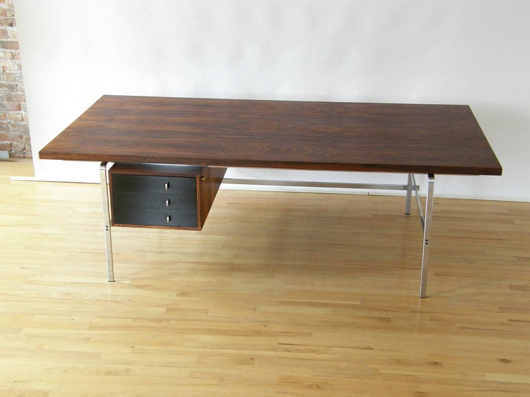Rosewood and Chrome Desk by Preben Fabricius and Jørgen Kastholm 2